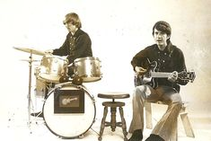 Rare early photo of Peter Tork on the drums as Mike Nesmith plays guitar & sings. Taken June 1966 at The Frigate record store at a photo event promoting the Monkees new series which would not premier for 3 more months.   Evolution of Technology - Vinyl Records by Bruce Sallan