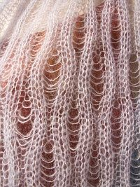 Divine drop-stitch rib lace knitting pattern.  The finer the yarn the more delicate it turns out.