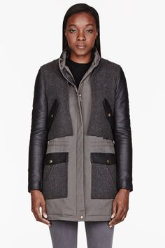 ARMY BY YVES SALOMON Olive drab leather & fur paneled coat