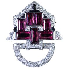 CARTIER Magnificent Pink Tourmaline, Diamond & Onyx Brooch, ca. 1928
