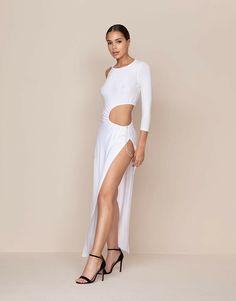 Shop the Zofia Long Dress White. Your favourite white dress, updated. Shop Now. Agent Provocateur, Size 14 Dresses, Dresses Uk, Uniform Dress, Designer Lingerie, White Dress, Two Piece Skirt Set, Festool Sander, Skirts