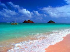 Pink Sand Beach ~ Lanikai Beach, Hawaii This beach is not so large, but this beach is one of the clearest water and cleanest blue in hawaii. Complete with view of two small islands called Mokuluas in the distance.making a stop here on our trip Vacation Destinations, Dream Vacations, Vacation Spots, Most Beautiful Beaches, Beautiful World, Beautiful Places, Places To Travel, Places To See, Voyage Hawaii