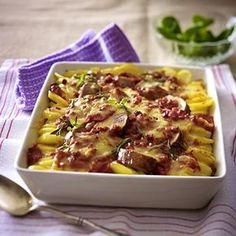 Kartoffel-Schweinelendchen-Gratin in Speck-Tomatenrahm Rezept   LECKER