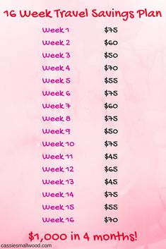 Free printable 16 week months) travel savings plan with ideas and tips to save money on expenses and start your family vacation fund before summer! This template will help you create a budget travel savings plan and hit all the places on your bucket list. Savings Challenge, Money Saving Challenge, Money Saving Tips, Money Tips, Saving Ideas, Managing Money, 26 Week Savings Plan, Money Saving Hacks, Best Saving Plan