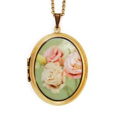 Shabby Chic Locket Necklace, $49, now featured on Fab. How vintage!