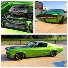 Beautiful mix of old muscle car and new technology. Love the paint on this Mustang too.