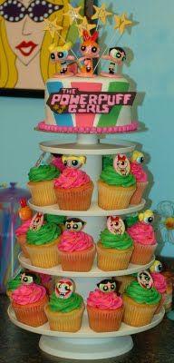 powerpuff girls cake   Tara's Cupcakes: The Powerpuff Girls Cupcake/Cake Tower