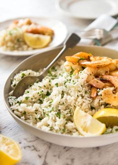 This lemon rice pilaf is so delicious, it can be eaten plain! Made with garlic, onion, chicken broth and of course plenty of bright zesty lemon.