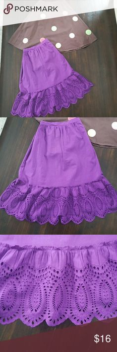 Gymboree/Gap kids bundle  2 skirts VERY CUTE below knee skirts.  Dark purple has a scalloped edge. The brown one has colorful yet tasteful dots that are deeper in color then the lighting reflects. Some of the dots are embellished. Purple has tiny discoloration at the top.. that is barely visible with a longer shirt.  shown in pic. Price already reflected Gymboree Bottoms Skirts