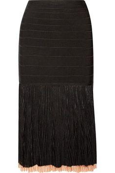 Hervé Léger - Ribbed-knit And Bandage Skirt - Black - medium