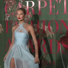 Candice Swanepoel attends the Green Carpet Fashion Awards Candice Swanepoel paired a pale blue Philosophy di Lorenzo Serafini gown with red heels and a matching red lip at the Green Carpet Fashion Awards … Fashion Fail, Fashion Videos, Fashion Mode, Fashion Show, Fashion Events, Tokyo Fashion, Petite Fashion, Candice Swanepoel, Green Carpet