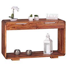 WOHNLING Konsolentisch Massivholz Sheesham Schreibtisch 119 Cm Schubladen  Landhaus Stil Sideboard Modern Ess Küchen