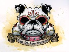 Day of the Dead Artist David Lozeau, Dia de los Perros Print, Day of the Dead Art, David Lozeau Dia de los Muertos Art