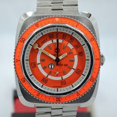 Vintage Favre Leuba Bathy 160 Aqua Lung U s Divers 53253 Steel Orange Watch   eBay