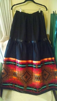 Custom order your womens full native American style ribbon stomp skirt with tribal design fabric trim! Sizes XS, S, M, only. Native American Clothing, Native American Regalia, Native American Design, Native American Fashion, Native Fashion, Traditional Skirts, Jingle Dress, Ribbon Skirts, Modern Outfits