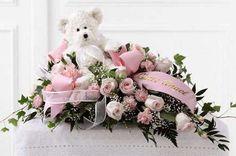 Pink flower baby casket spray for child funeral