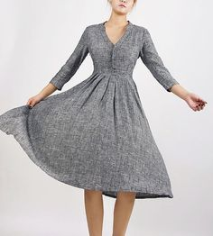 Gray linen dressfit and flare dressMod Dress knee by xiaolizi