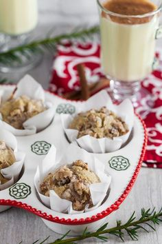 Eggnog Latte Muffins with Walnut Streusel (Dairy Free) ~ http://www.healthy-delicious.com