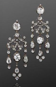 19th Century Old Mine Diamond Chandelier Earrings