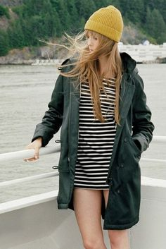 striped dress and mustard touque