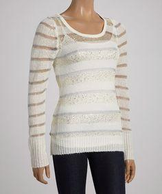 Look at this #zulilyfind! Ivory Stripe Glitter Hi-Low Sweater by Belldini #zulilyfinds