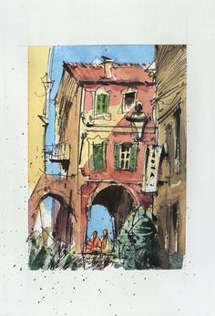 View: Bordighera, Centro Storico, Italy, Urban Sketch, Ink and watercolor on paper, 2020 | Artfinder Sketch Ink, Urban Sketching, Impressionist, My Works, Marines, Watercolour, My Photos, Original Art, Italy