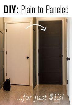 Plain door to paneled door for cheap! DIY paneled door transformation.