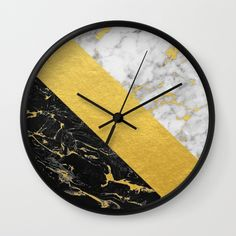 Marble Mix // Gold Flecked Black & White Marble Wall Clock