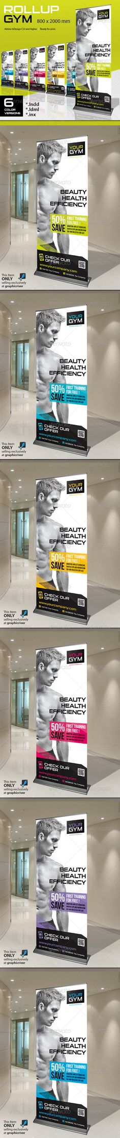 Buy Roll-Up Gym by Paulnomade on GraphicRiver. Roll-Up Gym. Modern and elegant design for banner/rollup. Perfect for gyms and sport clubs promotion. All elements ar. Signage Design, Brochure Design, Banner Design, Brochure Ideas, Standee Design, Roll Up Design, Rollup Banner, Retail Signage, Event Banner