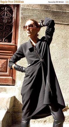 SALE Black Trench Coat / Elegant Zipper Blazer / Extravagant
