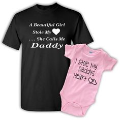 A Beautiful Girl Stole My Heart, Daddy Daughter T-Shirt Set