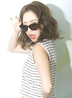常夏のウェービーボブ☆ 【Cura】 http://beautynavi.woman.excite.co.jp/salon/21053?pint ≪medium・hairstyle・ミディアム・ヘアスタイル・髪形・髪型≫