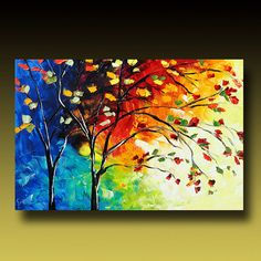TREE Painting Original Large Abstract Textured Modern by GoldieK