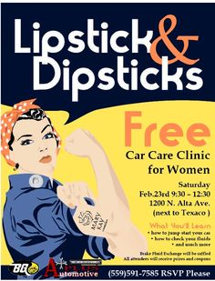 This FREE event is designed specifically to encourage women to learn more about auto repai- Woman Mechanic, Mechanic Shop, Battery Logo, Battery Icon, Automotive Shops, Free Cars, Car Shop, The Body Shop, Encouragement