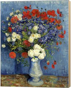kunst für alle Canvas Print: Vincent Van Gogh Still Life Vase with Cornflowers and Poppies Fine Art Print, Canvas on Stretcher, Ready to Hang Wall Picture, inch / cm Art Floral, Art Mural Floral, Fleurs Van Gogh, Van Gogh Flowers, Cut Flowers, Tulips Flowers, Framed Art Prints, Painting Prints, Fine Art Prints