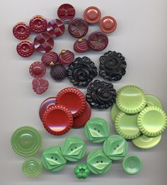 Vintage Plastic Buttons by YaddaYaYa, via Flickr