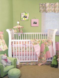 Pale pink & green - so sweet : ) And we wouldnt have to repaint the (my old) room!!! Only works for a little girl though....
