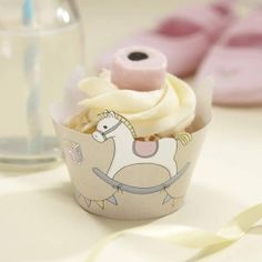 Rock-A-Bye Baby Cupcake Wraps - x - Pack of Rocking Horse Cupcake WrapsBaby shower party inspiration, baby shower decorations, baby shower tableware, baby shower party ideas. Baby Cupcake, Horse Cupcake, Cupcake Wraps, Cupcake Cases, Baby Shower Parties, Baby Boy Shower, Baby Showers, Shower Party, Cupcakes