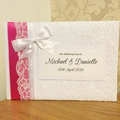 Hot pink ribbon #wedding #guestbook made recently  18.50 from our website Ahoydesigns.co.uk  #wedding #brides #weddinginspiration #weddingday #guestbook #lace #ribbon #diy #vintage #classic #shabbychic # #bespoke #unique #individual #crafty #craft #weddingday #love #personalised #engaged #gettingmarried #newlyengaged