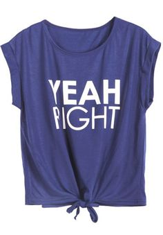 Navy YEAH RIGHT Print Tie T-Shirt