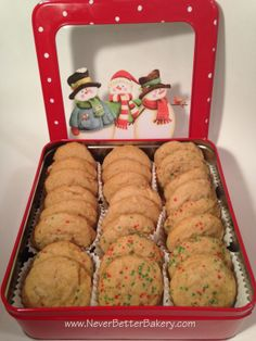 Our Peanut Butter Cookies in a Christmas Gift Tin.