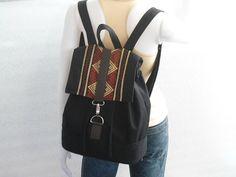 Black canvas and sarong  Backpackhandmade by lalitathaicraft, $65.00