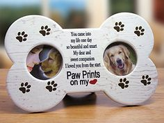 Dog Bereavement Memorial Photo Frame Inspirational Plaque Double Picture Frame - Paw Prints on my Heart