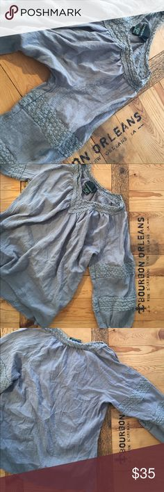 Grey peasant blouse M Thin & soft. Color is a medium faded grey Cynthia Rowley Tops Blouses