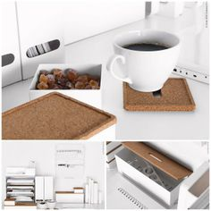 KVISSLE simple, white organizers with cork accents keep your desk looking clean and in style!