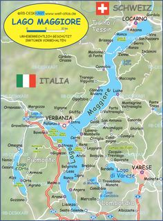 Map of Lake Maggiore (Lago Maggiore) (Italy, Switzerland)