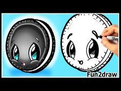 How to Draw Cute Cartoons - Oreo Cookie - Kawaii Food Desserts Tutorial - Fun2draw Art - YouTube