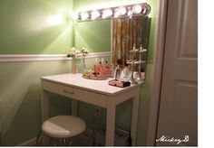 I really want to do this! It shouldn't be that hard really. Get a cheap desk or something. Get a nice looking mirror to set on top of it and then figure out lights :) Even if it's just two really bright lamps. DIY vanity & lights  dressing room