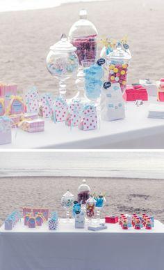 candy bar at a beach wedding? yes, please.