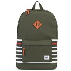 a8d933effa0d The classic Offset Herschel Heritage™ backpack features a functional design  with screen printed contrast stripes and a distinctive vegetable tanned  leather ...